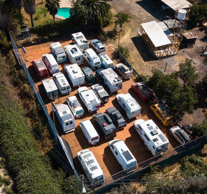 Truck camper in storage